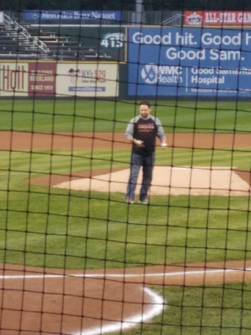 Throwing First Pitch Rockland Boulders Championship Game 1